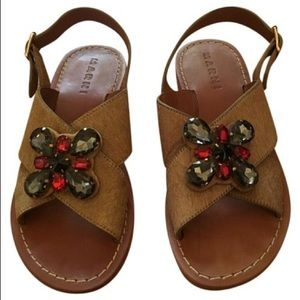 NEW MARNI Rhinestone Applique Pony Hair Sandals