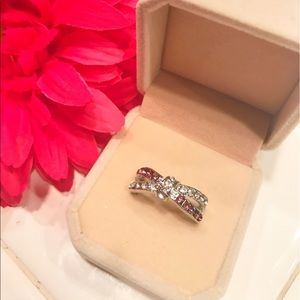 Jewelry - 10K WGF Fuchsia Cz Love Knot Ring
