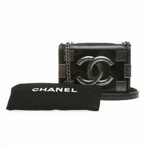 NWT Chanel Black Lambskin Lego Brick Boy Bag
