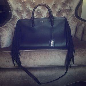 Saint Laurent rive gauche leather fringe satchel.