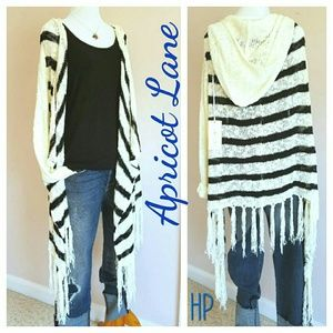 Apricot Lane  Sweaters - CLOSET CLOSING! Hooded Striped Fringe Cardigan