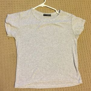 Brandy Melville white and gray stripped shirt