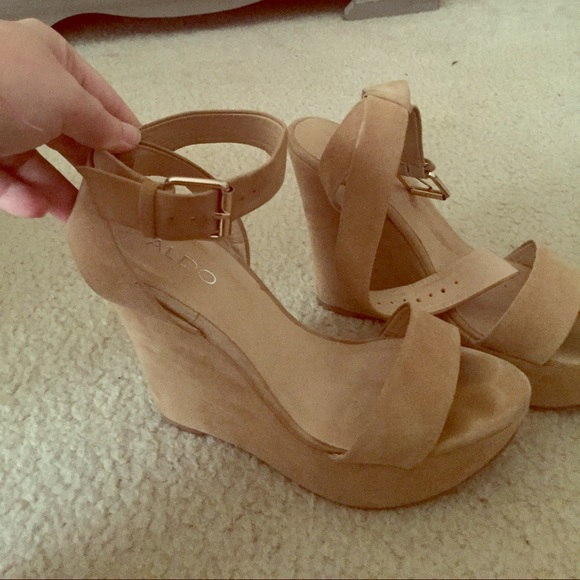 ce5f9649ae2 Aldo Shoes - 💕 Aldo Nude Suede High Cut Ankle Strap Wedges