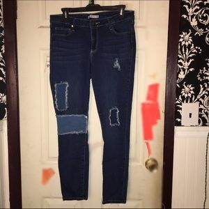 Just fab skinny patchwork jeans