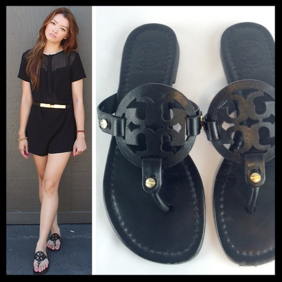 a06e33d799a61 tory burch    black leather miller sandals. M 57bfc1026a5830236800a928