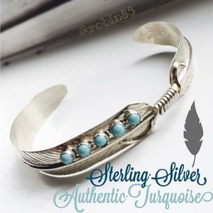 Authentic Turquoise Sterling Silver feather cuff🌙
