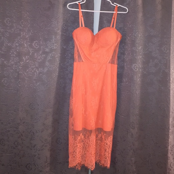 98bdc9538a11 bebe Dresses & Skirts - Never been worn orange/coral lace dress from Bebe