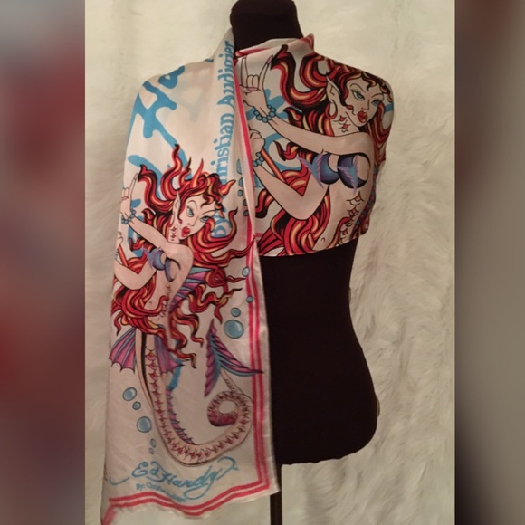 35cd7e3b2224 Ed Hardy Accessories - Mermaid silk Ed Hardy tattoo long   vibrant scarf!