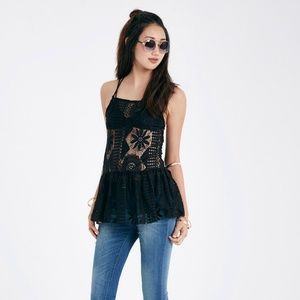 Tops - Black Crochet Baby Doll  Blouse Criss Cross Back