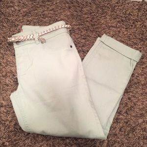 Mint Green Cropped Jeans