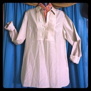 BANANA REPUBLIC Pinstripe Blouse Tunic-Size Med