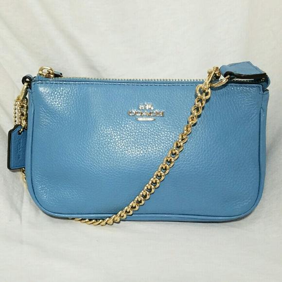 Coach Handbags - COACH Light Blue Pebbled Small Bag Gold Strap 58e1e7cae1f70