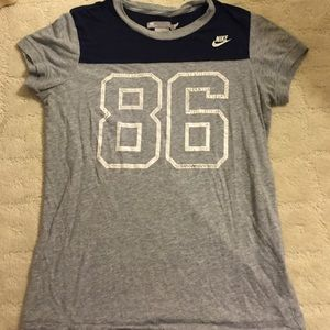 Nike Gray and Navy 86 tee. Size small