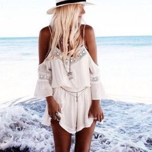Pants - White crochet jumpersuit romper
