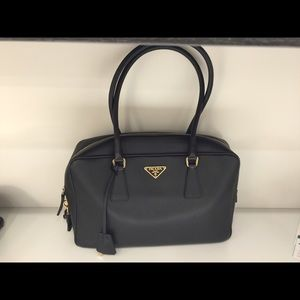 Prada black classic leather tote