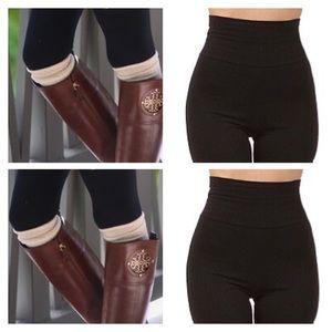Pants - Tummy Control- Fleece Lined High Waisted Leggings