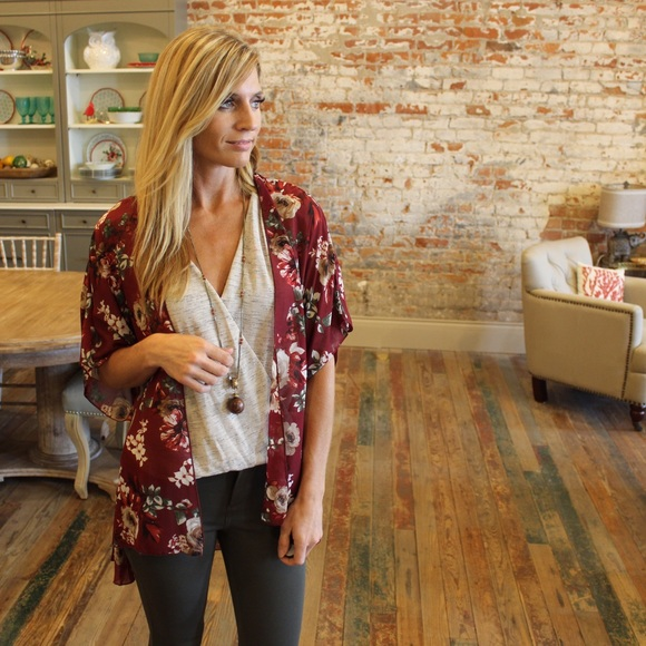 35% off Tops - Burgundy floral kimono from Suzanne's closet on ...