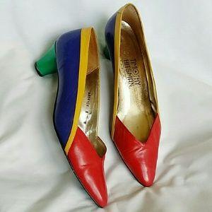 Vintage Color-Block Kitten Heels