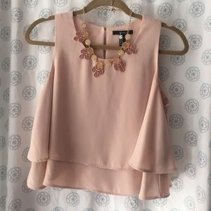 Forever 21 Tops - Forever 21 blush blouse & Loft statement necklace