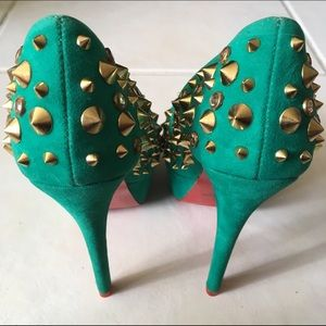 Alba Shoes - Alba Gold Spiked Rhinestone Pump Mermaid Green