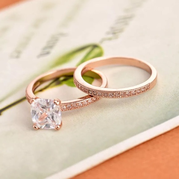 Cushion Cut Rose Gold Engagement Wedding Ring Set from Princess s closet