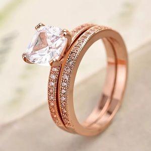 Cushion Cut Rose Gold Engagement Wedding Ring Set