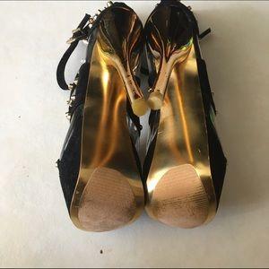 Alba Shoes - Alba Gold Rhinestone Platform Heels