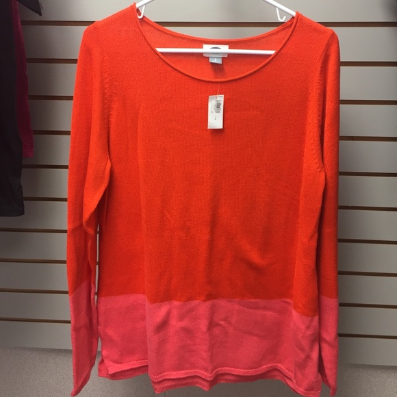 Old Navy - Old navy orange & pink color block sweater L new! from ...