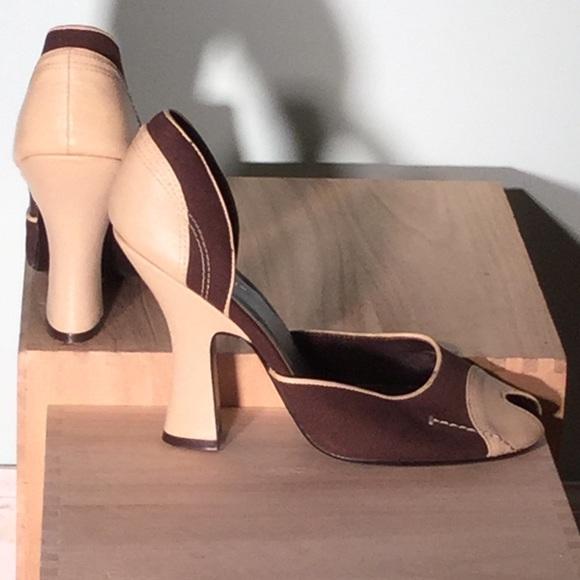4aa78b5eafc Colin Stuart Shoes - 1940s peep toe brown cream spectators-Prada-copies