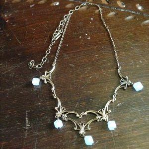 Jewelry - Vintage bib necklace gold and light blue filigree