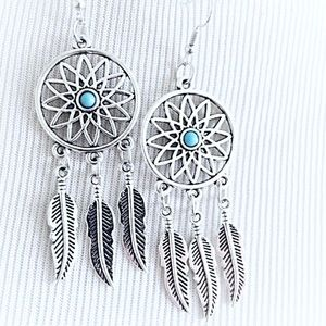 Jewelry - Brand new dream catcher silver and blue earrings