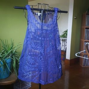 LC Lauren Conrad blue sheer embroidered tunic