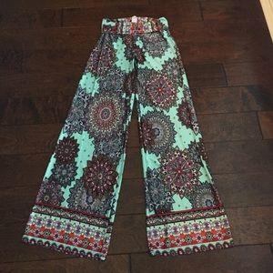 Solid Pants - Silky palazzo pants
