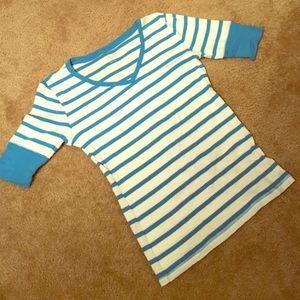 Calvin Klein Blue and white 3/4 length shirt