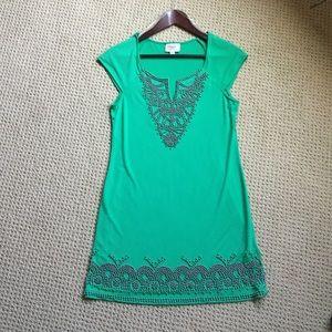 ECI Dresses & Skirts - Eci green beaded dress