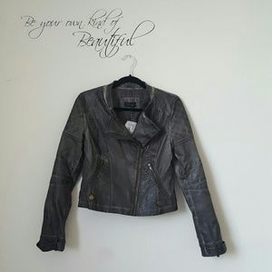 Rd style  Jackets & Blazers - Dark gray faux leather moto jacket