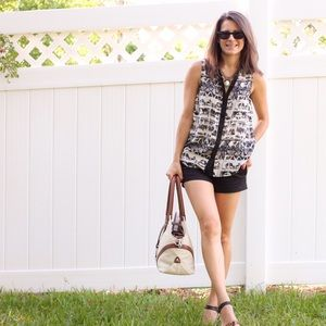 Tribal print button down tank.