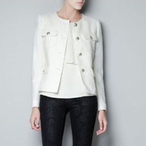 Zara Ivory Jacket W/ Gold Buttons, Size Small