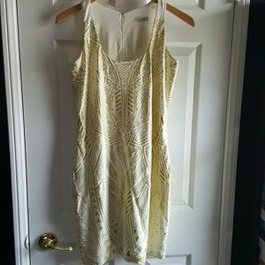 Cache White and Gold Aztec Print Dress