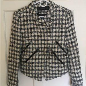 ZARA Black & White Check Tweed Moto Jacket Blazer