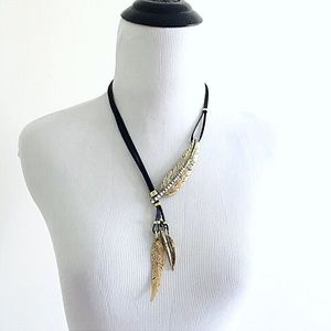 Jewelry - Brand new leather feather pendant gold necklace