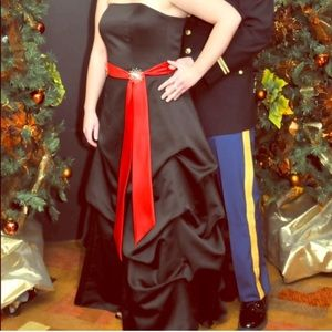 Black satin Ballgown with skirt pickups for sale