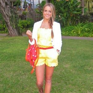 Juicy Couture Linen Yellow Scallop Romper