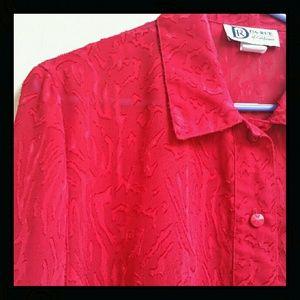 Vtg. Semi-sheer Red Blouse - Oversize