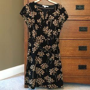 NWOT Boden Women's Black & Gold Print Dress