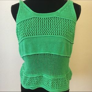 Express small cotton green sweater tank top