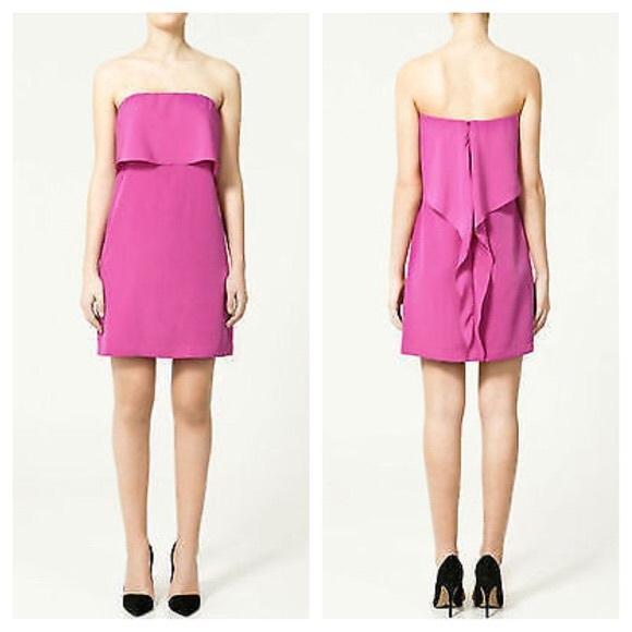 Zara Dresses | Strapless Hot Pink Dress