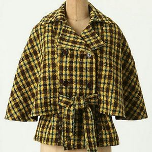 Anthropologie  Jackets & Blazers - Anthropologie Belted Plaid Cape