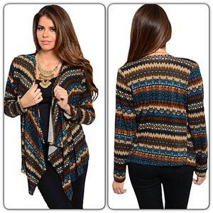 Sweaters - 🔵CLEARANCE🔵Boho Tribal Draped Cardi Kimono Med