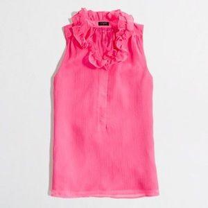 J. Crew Hot Pink Ruffle-Collar Silk Cami